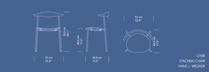 CH88P スタッキングチェア ビーチ ホワイト塗装 クローム 詳細9