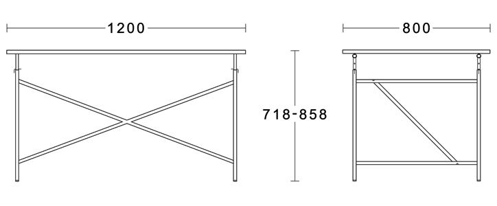 アイアーマンテーブル 1200幅 ブラック 詳細11