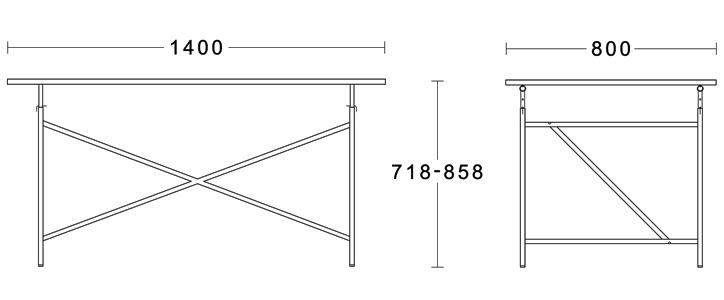 アイアーマンテーブル 1400幅 グレ- 詳細11