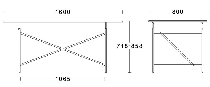 アイアーマンテーブル 1600幅 ブラック 詳細11