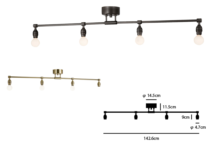 AW-0460 Laiton 4 ceiling lamp 詳細1