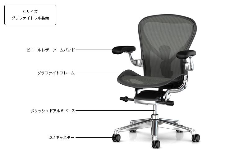 アーロンチェアリマスタード グラファイト ポリッシュ ビニールレザーアーム DC1 詳細1