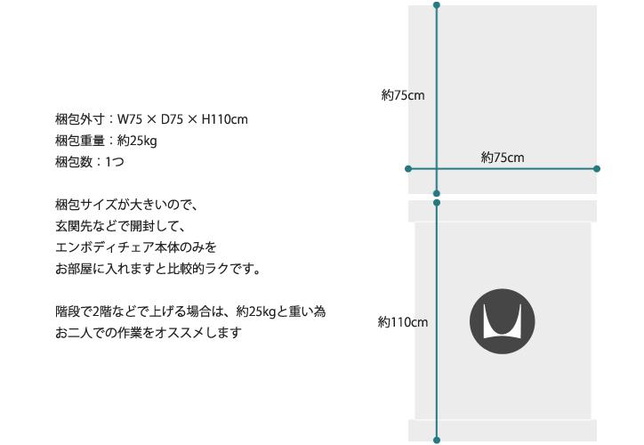 エンボディチェア  グラファイト グラファイト 梱包サイズ